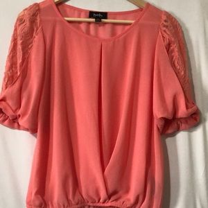 By&By orange dressy lace sleeves women blouse